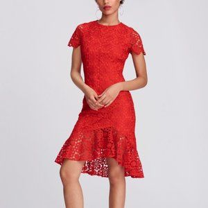 Eliza J Red Floral Lace Ruffle Short Sleeve Dress